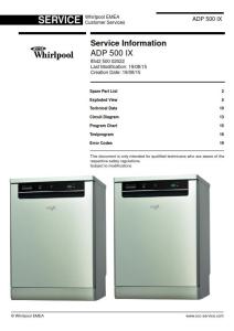 Whirlpool ADP 500 IX Dishwasher Service Manual | eBooks | Technical