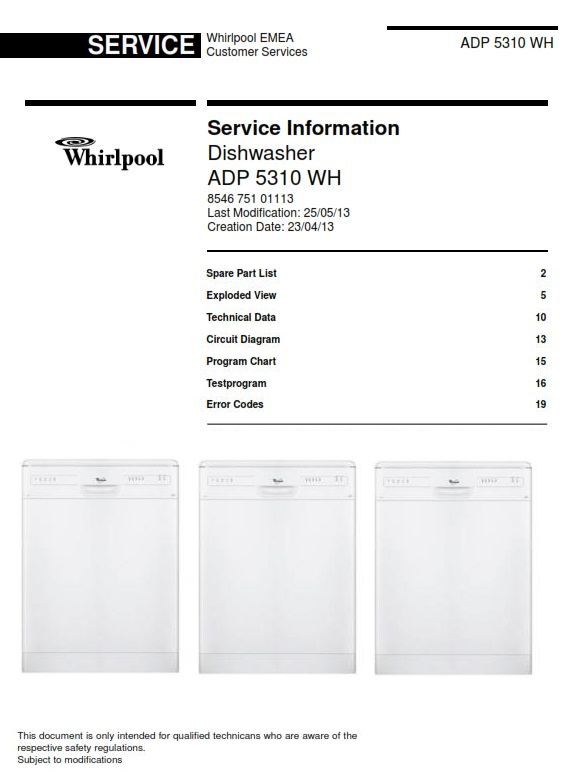 Whirlpool adp 5310 wh dishwasher service manual ebooks technical fandeluxe Choice Image