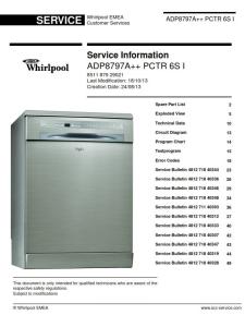 Whirlpool ADP 8797 A++ PC 6S I Dishwasher Service Manual | eBooks | Technical