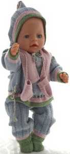 dollknittingpatterns modell modell 0180d karitas  - sweater, hose, kurzärmeliger pulli, mütze, socken, schal und handschuhe-(deutsch)