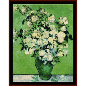 vase of roses - van gogh cross stitch pattern by cross stitch collectibles