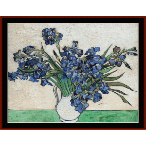 irises pink and gray - van gogh cross stitch pattern by cross stitch collectibles