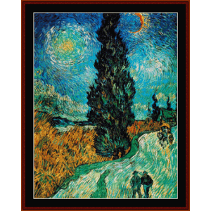 road with cypress and stars - van gogh cross stitch pattern by cross stitch collectibles