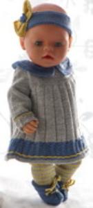 dollknittingpatterns 0181d pernille - kjole, leggings, hårbånd og sko-(norsk)