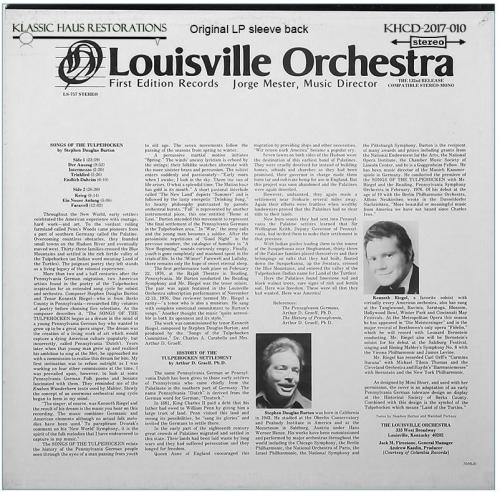 Third Additional product image for - Stephen Douglas Burton: Songs of the Tulpehocken - Kenneth Riegel, tenor - Louisville SO/Burton