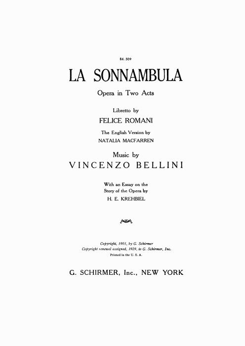 First Additional product image for - De' lieti auguri a voi. Aria for Soprano (Lisa). V. Bellini: La Sonnambula, Vocal Score, Ed. Schirmer (1902). Italian/English