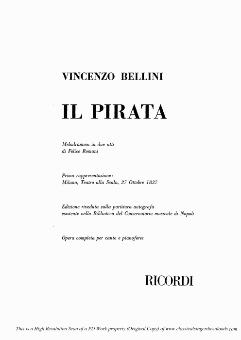 First Additional product image for - Ebben...Verrà. Recitative for Soprano (Imogene). V. Bellini: Il Pirata,  Vocal Score, Ed. Ricordi (PD). Italian