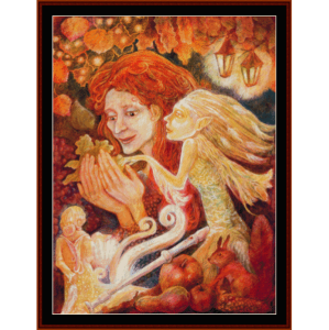 autumn woman - fantasy cross stitch pattern by cross stitch collectibles