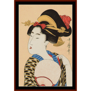 bijin with a fan - asian art cross stitch pattern by cross stitch collectibles