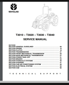 new holland t3010 t3020 t3030 t3040 service manual