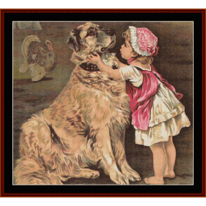 a girl and her dog - vintage art cross stitch pattern by cross stitch collectibles