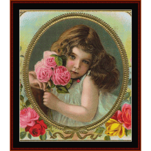 girl with roses - vintage art cross stitch pattern by cross stitch collectibles