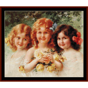 best friends - vintage art cross stitch pattern by cross stitch collectibles