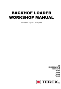 terex 820, 860 880 sx & elite, 970 980 elite, tx760b, tx860b backhoe loader workshop service manual