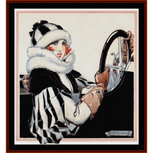 motorist - vintage poster cross stitch pattern by cross stitch collectibles