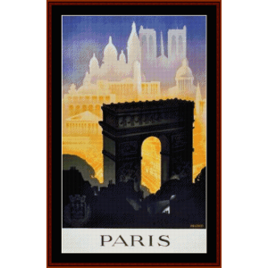 paris ii - vintage poster cross stitch pattern by cross stitch collectibles
