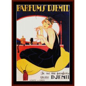 parfums d'jemil - vintage poster cross stitch pattern by cross stitch collectibles