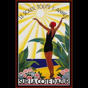 sur la cote d'azur - vintage poster cross stitch pattern by cross stitch collectibles