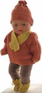 dollknittingpatterns 0183d olefine - trui, broek, muts, sjaal, en schoentjes-(nederlands)