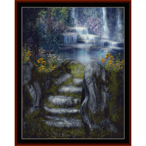fantasy waterfalls - fantasy cross stitch pattern by cross stitch collectibles