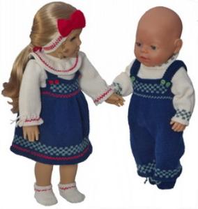 dollknittingpatterns 0184d julie & julian -bluse, rock, unterhose, haarband und schuhe für juliesub pulli, hose und schuhe für julian-(deutsch)