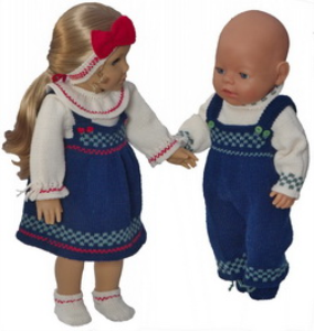 dollknittingpatterns 0184d julie & julian - pull, jupe, pantalon, bandeau, chaussures pour julie  pull, chaussures, pantalon pour julian-(francais)