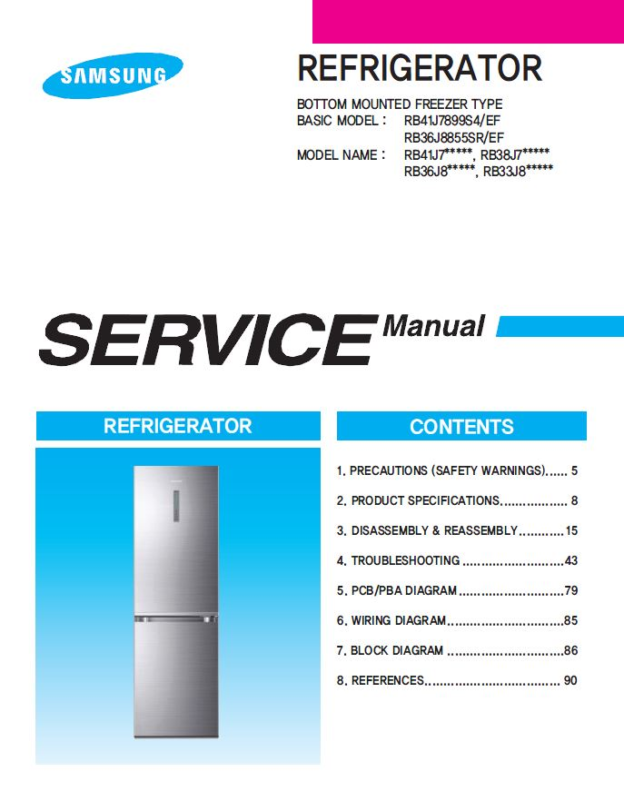 Samsung RB36J8799S4 RB36J8855S4 RB36J8215SR Refrigerator Service ...