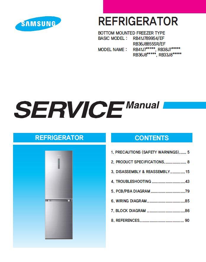 Samsung RB38J7635SA RB38J7535SR RB38J7255SR Refrigerator Service ...