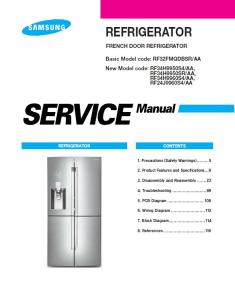samsung rf34h9950s4 rf34h9950sr rf34h9960s4 rf24j9960s4 refrigerartor service manual