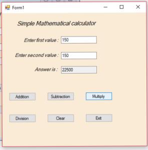 mathematical calculator coding