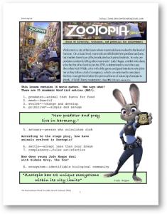 zootopia, whole-movie english (esl) lesson