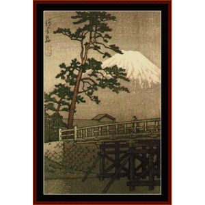 kawaii bridge - asian art cross stitch pattern by cross stitch collectibles