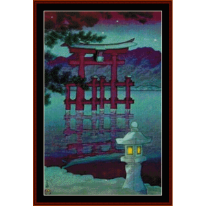 night shrine - asian art cross stitch pattern by cross stitch collectibles