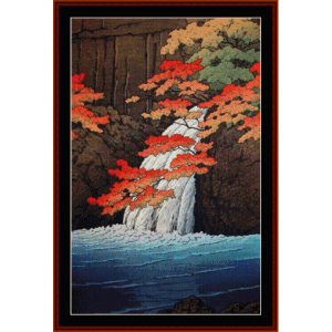 senju waterfall - asian art cross stitch pattern by cross stitch collectibles