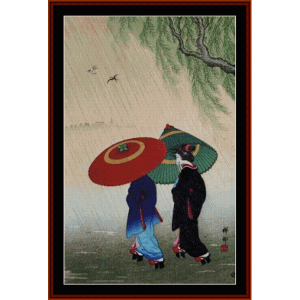 two beauties in the rain - asian art cross stitch pattern by cross stitch collectibles