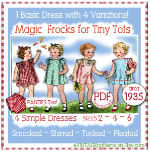 4 e-z frocks for tots - dress e-pattern 4 variations 1930s
