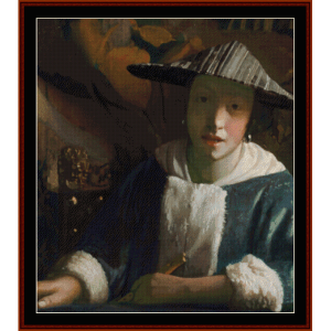 girl with flute - vermeer cross stitch pattern by cross stitch collectibles