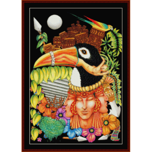 toucan fantasy - fantasy cross stitch pattern by cross stitch collectibles