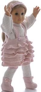 dollknittingpattern 0185d henny-pants, sweater, ruffled short pants, hairband and shoes-(english)