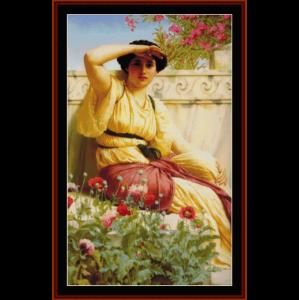 a tryst, 1912 - godward cross stitch pattern by cross stitch collectibles