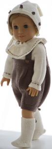 dollknittingpatterns 0186d fanny - barboteuse, pull, foulard, chapeau et chaussettes -(francais)