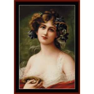 woman with bird's nest - vintage cross stitch pattern by cross stitch collectibles