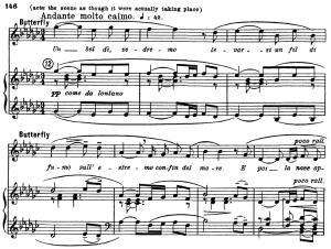 un bel di vedremmo, aria for soprano. g. puccini: madame butterfly, vocal score, ed. kalmus, italian.