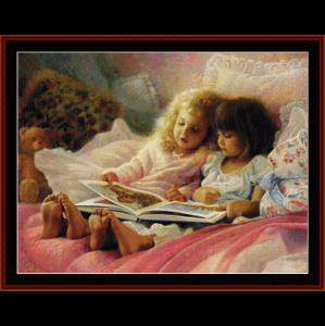 girls reading - vintage art cross stitch pattern by cross stitch collectibles