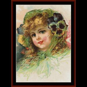 peony girl - vintage art cross stitch pattern by cross stitch collectibles