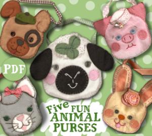 5 felt animal purse pals