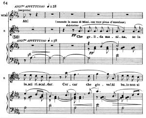 che gelida manina. aria for tenor, g. puccini, la bohème. vocal score, ed. ricordi. italian.