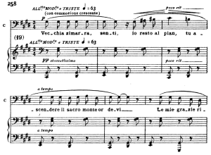 vecchia zimarra, aria for bass, g. puccini: tosca. vocal score, ed. ricordi. italian