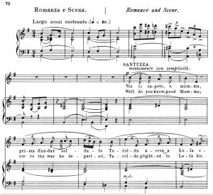 voi lo sapete o mamma. aria for soprano, p. mascagni: cavalleria rusticana, vocal score, ed. schirmer, 1891. italian/englih