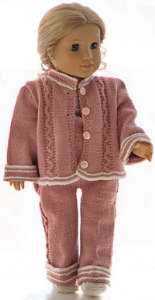 dollknittingpattern 0188d ursula - jacket, pants, shore-sleeved sweater, bonnet and shoes-(english)